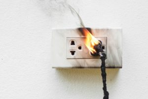 damaged electrical outlet electrical fire